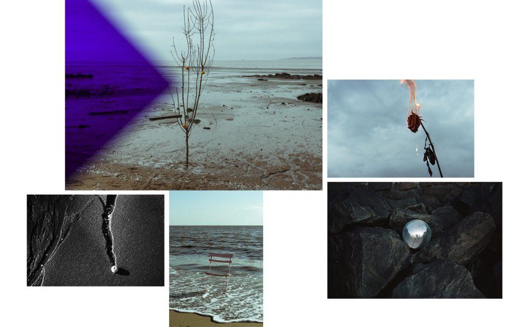 Un arbre mort est planté dans le sable, la marée est basse. Trois oranges sont disposées sur les branches de l'arbre et tiennent en équilibre. Une rose est en feu. Une orange bloque un ruissellement. Une chaise de jardin est abandonnée dans les vagues. Une boule à facettes est posée sur des rochers noirs.